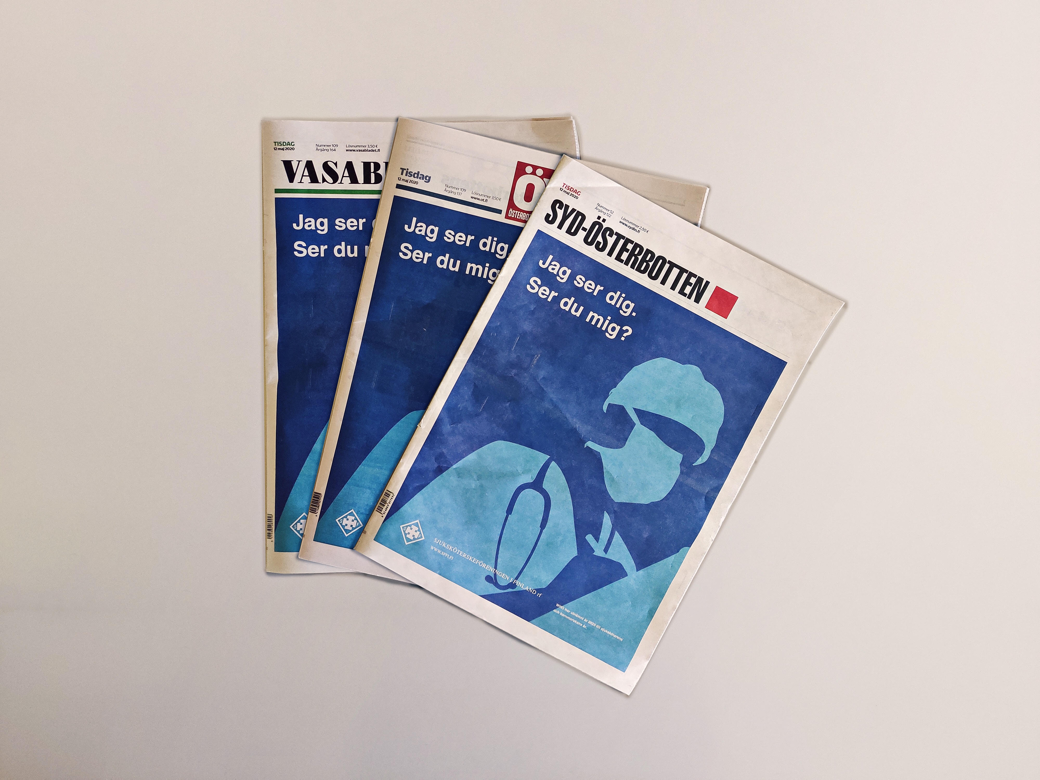 Newspapers with the ad cover