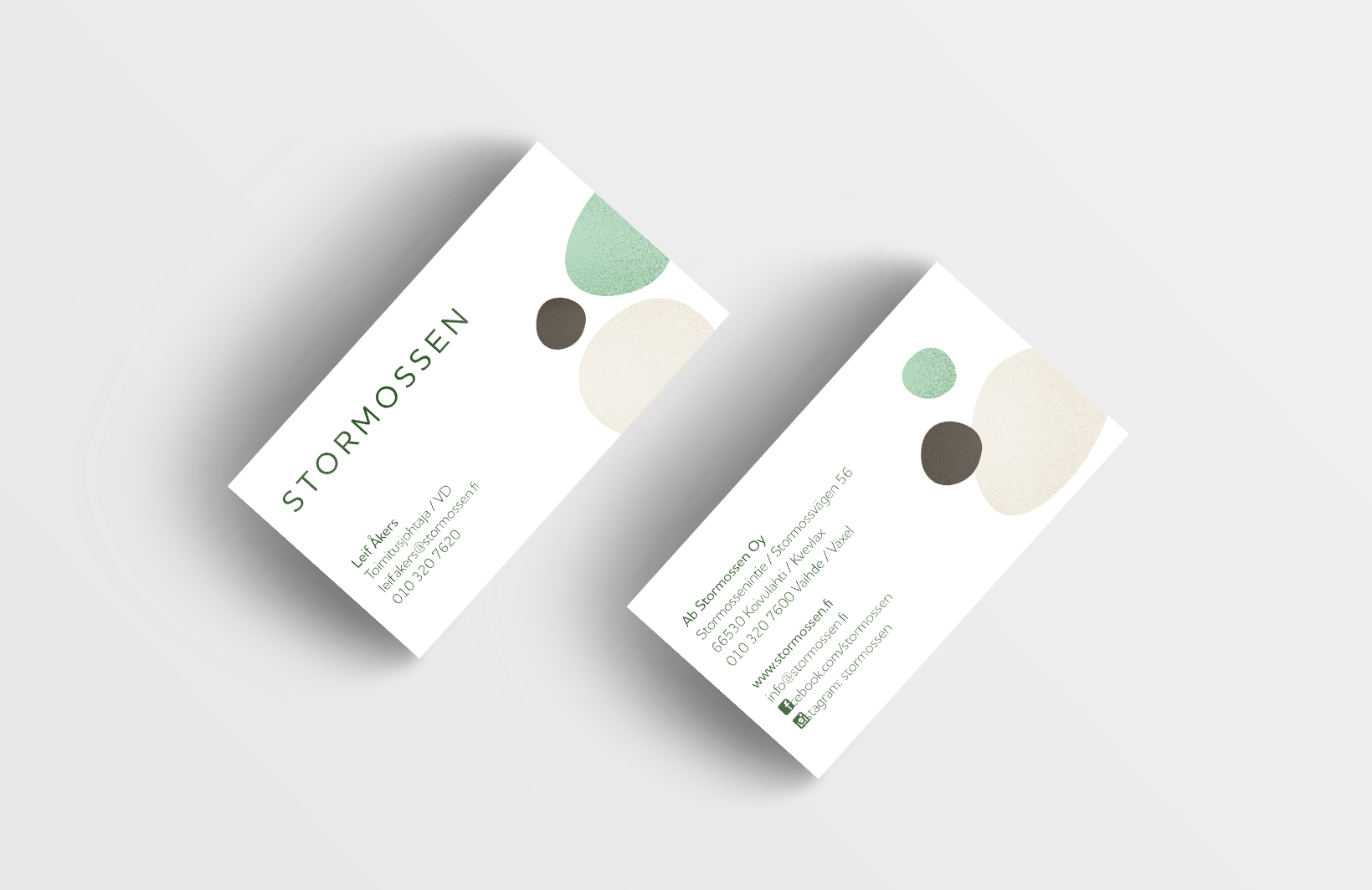 Business card layout for Stormossen