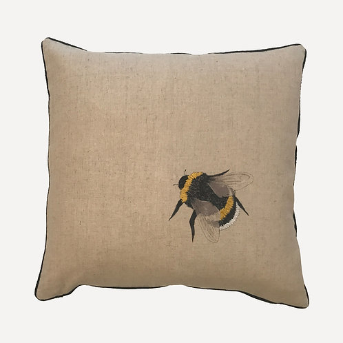 Worker Bee Embroidered Cushion Cover