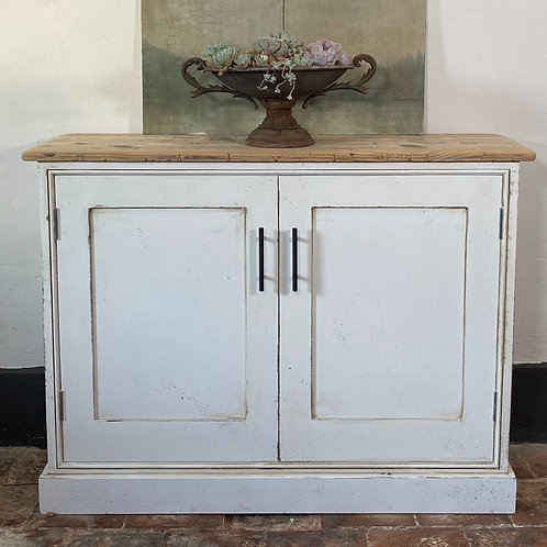 Really Useful Cupboard painted white with antique paint effect