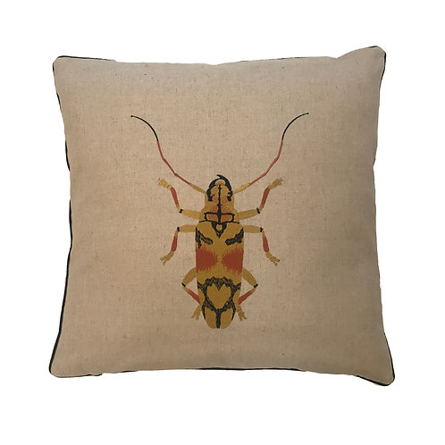 Embroidered Beetle Cushion Cover - Gold   Supplied as a cover only