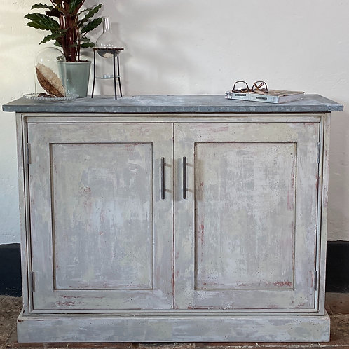 Really Useful Cupboard with layered paint technique and Zinc top