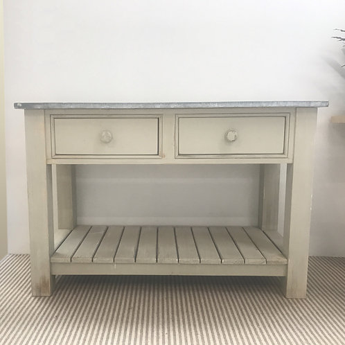 2 Drawer potting table with a reclaimed Zinc top