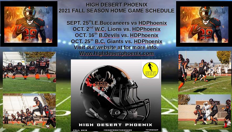 High Desert Phoenix 2021 Home Game Sched