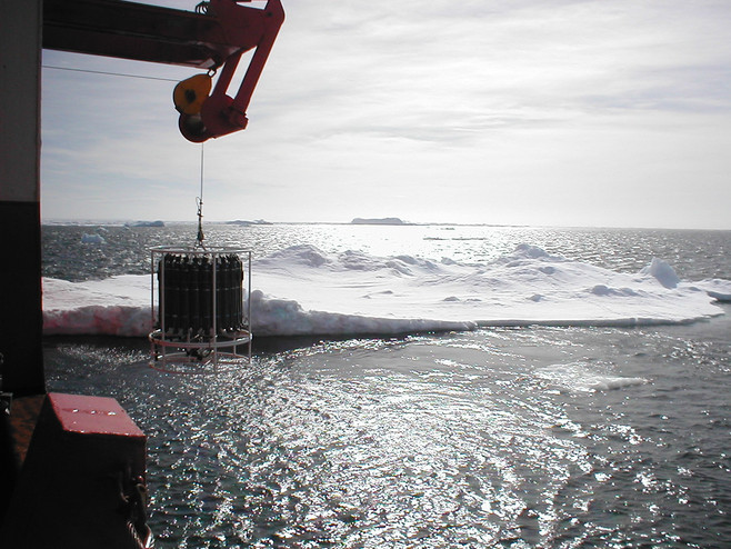 Deploying a rosette sampler during an oceanographic cruise in the Antarctic Ocean