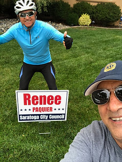 Hadi and Moe with their Renee lawn sign