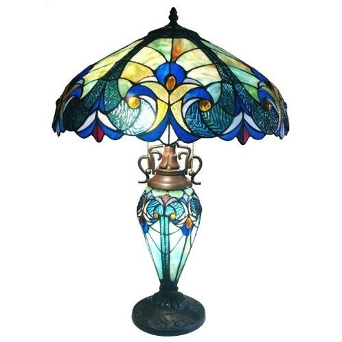 3 Light Victorian Tiffany Style Multi Colored Glass Table Lamp
