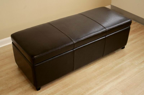 This Is A Long Ottoman That Can Be Used As A Comfortable Bench As Well As A Storage  Ottoman. The Dark Brown Leather Ottoman Provides A Decent Seating ...