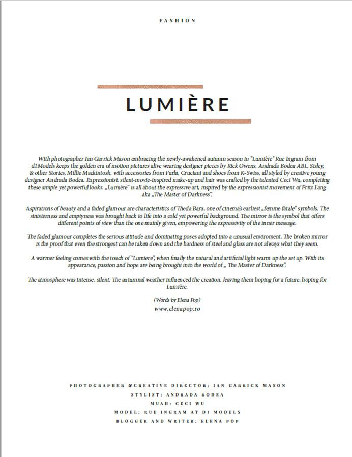 LUMIERE ELEGANT MAGAZINE TEXT