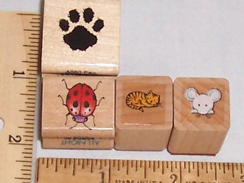 Wood Mounted Rubber Stamp Paw Print Cat Mouse Lady Bug