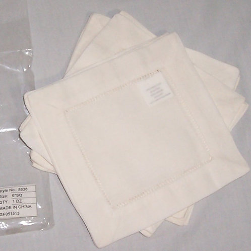 "Cream Linen Hemstitched Cocktail Napkins-1 Dozen 6"" X 6""- Ladder Hem Stit"