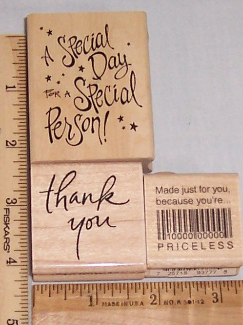 Wood Mounted Rubber Stamp Inkadinkado Special Day Special Person, Thank You + 1