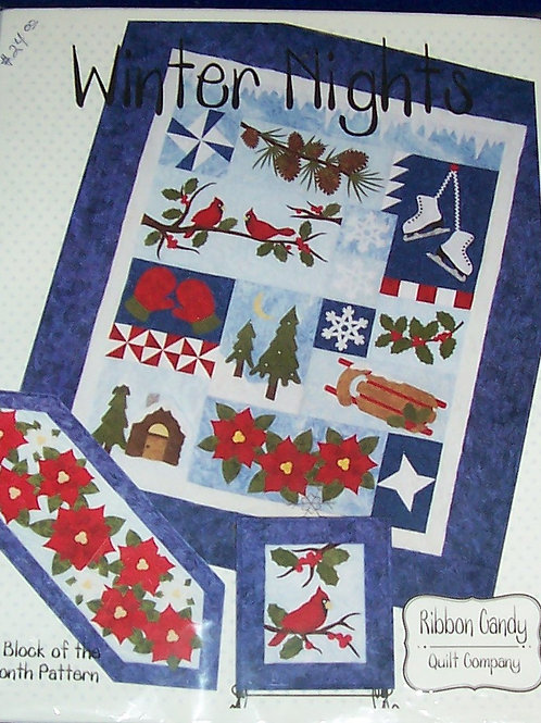 """Winter Nights Ribbon Candy Pattern Wall Quilt 54""""X 64"""" Block of the Month Series"""