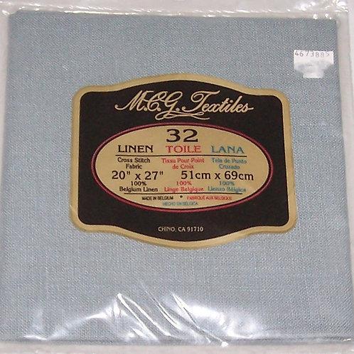 "M.C.G. Textiles 32CT 20"" X 27"" TWL Blue Cross Stitch Fabric Linen"