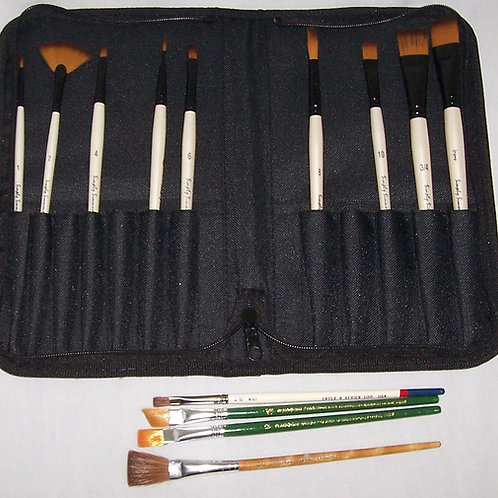 9 Robert Simmons Simply Simmons Paint Brushes + 4 Others with Case