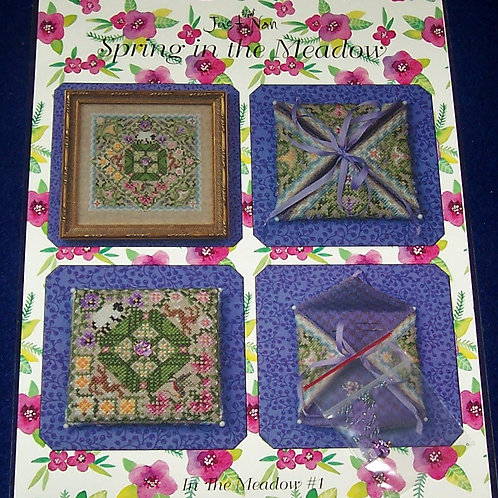 Cross Stitch Pattern Just Nan Spring in the Meadow Needle Case & Embellishments
