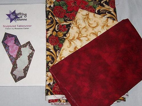 """Sculptured Tablerunner Roxanne Carter Pattern and Fabric Kit 18""""X50"""""""