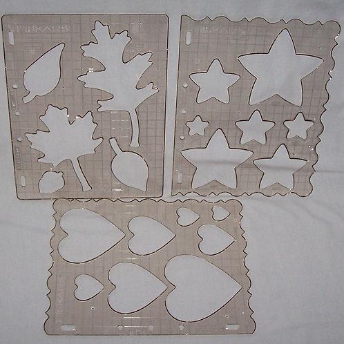 Fiskars Set of 3 Templates Leaves, Stars, Hearts Shape