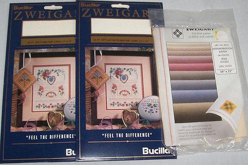"""2 Bucilla Zweigart 32CT Antique White 14""""X 18""""+ 36CT Edinborough 18""""X 21"""" Linen"""