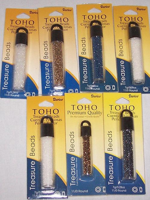 7 Pkgs Darice Toho Treasure Beads White Copper Bronze Rainbow Slate Navy...