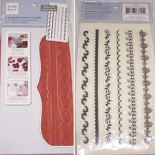 Heidi Grace Designs 6 Rubber Cling Stamps Borders