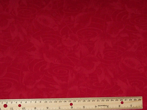 Kona Bay Red with Goldfish & Swirls KF693 Fabric See Specials Top of Webpage