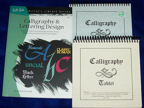 "Calligraphy and Lettering Design Arthur Newhall + 2 Tablets Each50 Sheets 6.5""Sq"