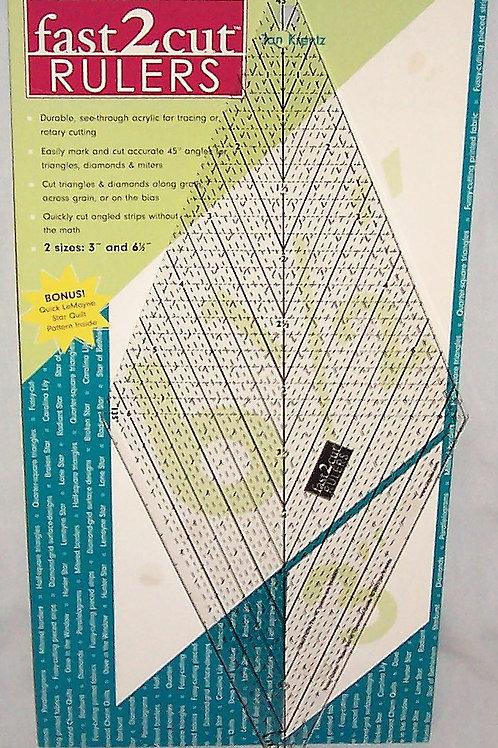 "fast 2 cut Fussy Cutter 45 Degree Diamond Guide 6.5"" Ruler Only Jan Krentz"