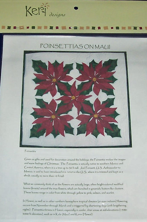 "Poinsettias on Maui Pattern Keri Designs About 24"" Pillow or Wall Hanging"