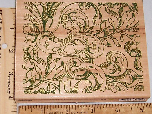 Wood Mounted Rubber Stamp Delta Rubber Stampede Acanthus Background 3320R Plant