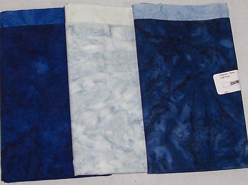 3 Pieces - One (1 Yard) + Two (1/2 Yard) Nuance Batik Bundle Fabric