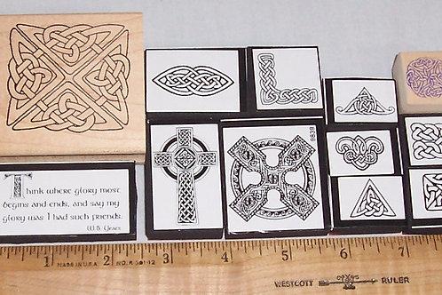 Wood Mounted Rubber Stamp Lot of 12 Celtic Designs Cross FoamMounted Irish Yeats
