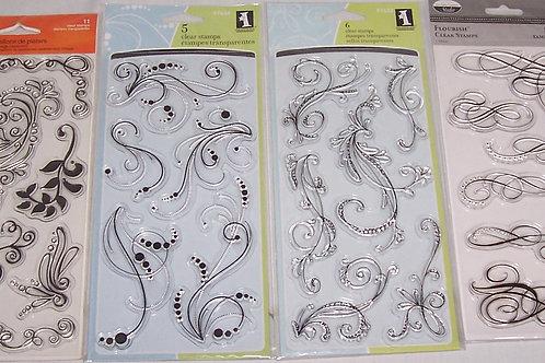 Fiskars Inkadinkado The Paper Company Clear Silicone Stamps Flourish and Swirls
