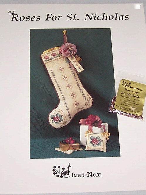 Cross Stitch Pattern Just Nan Roses For St. Nicholas + Bead Pack