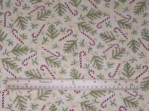 Clothworks Santa's Got the Goods Diane Knott Candy Cane Fabric