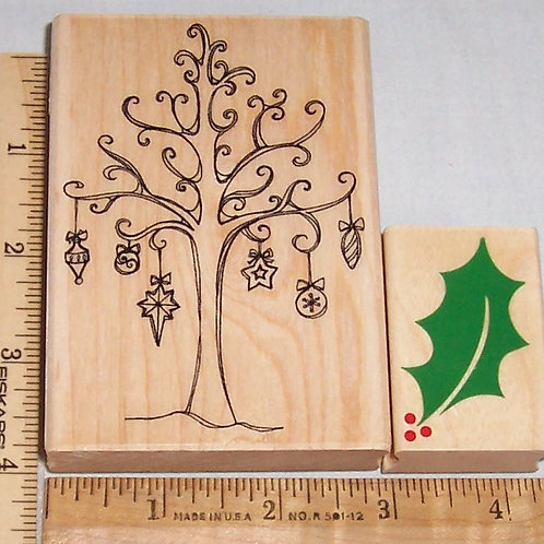 Wood Mounted Rubber Stamp Hero Arts Tree with Holiday Ornaments and Holly Leaf