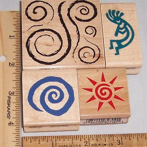 Wood Mounted Rubber Stamp Kokopelli Decorative Swirls and Sun