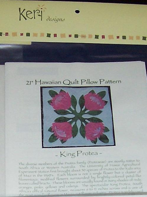 "King Protea 21"" Hawaiian Quilt Pillow Pattern Keri Designs"