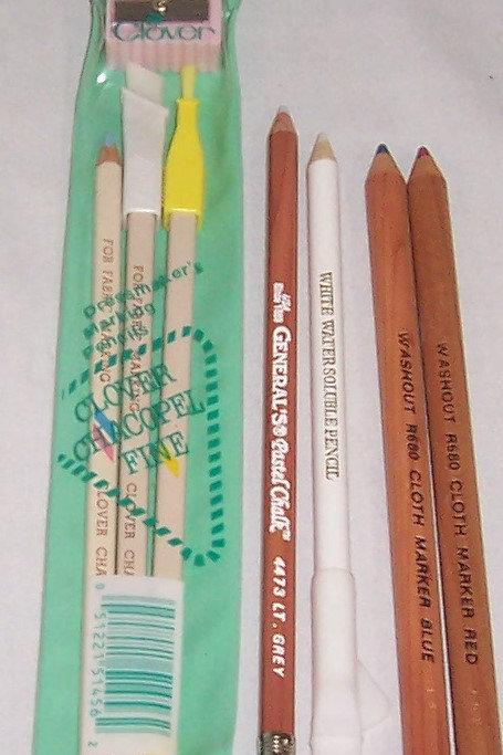 Clover Chacopel Fine Dressmaker's Marking Pencils + 4 Various Fabric Pencils