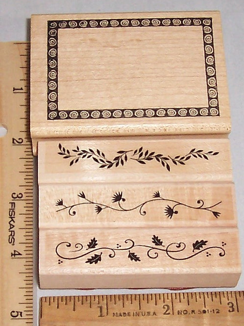 Wood Mounted Rubber Stamp Hero Art Artistic Leaves Borders, Decorative Frame