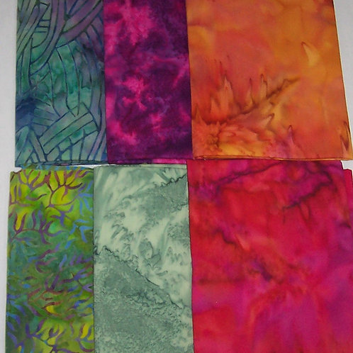 6  (1/3 Yard) Batiks Bundle Fabric