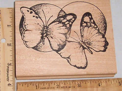 Wood Mounted Rubber Stamp Appalachian Art Stamps Butterflies