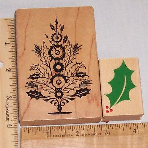 Wood Mounted Rubber Stamp Hero Arts & Inkadinkado Holly Leaf, Christmas Tree