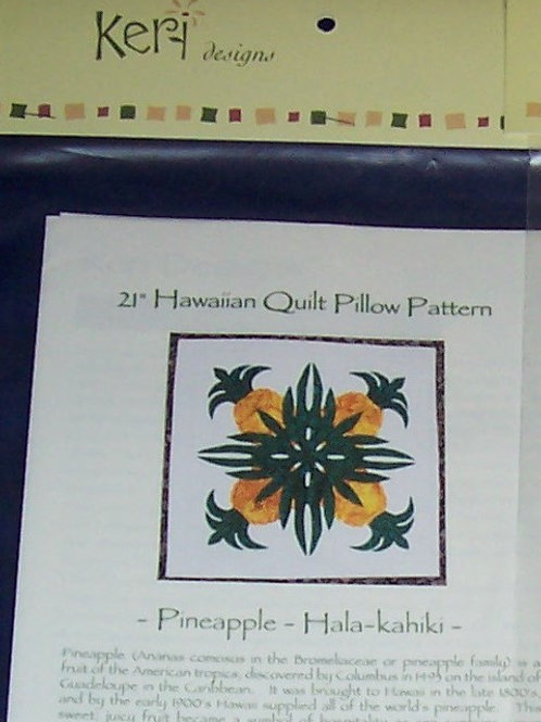 "Pineapple 21"" Hawaiian Quilt Pillow Pattern Keri Designs + Batik Fabric for Appl"