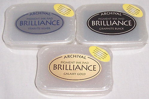 Archival Brilliance Pigment Ink Pad Stamp Gold, Silver, Black
