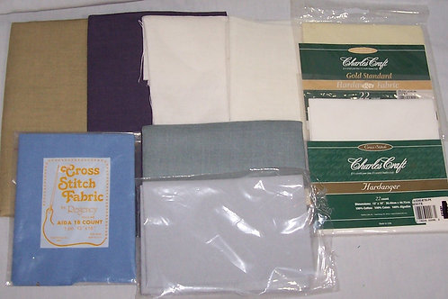 Lot of 9 Cross Stitch Linen Fabric Pieces Various Colors and Size Needlepoint