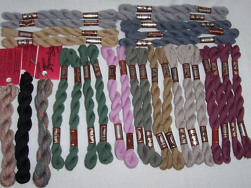 26 DMC Broder Medicis Wool + 3 Caron Impressions Silk/Wool Embroidery Needlepoin