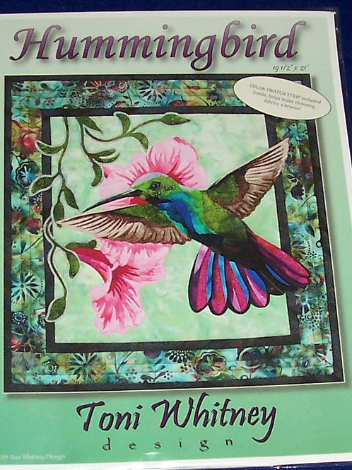 """Hummingbird Toni Whitney Design Pattern 19.5""""X21"""" Color Swatch Strip Included"""