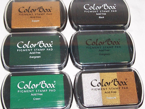 Lot of 6 Color Box Pigment Stamp Pad + 6 Cat Eyes