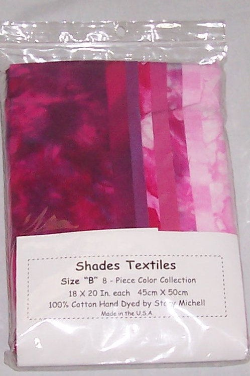 Stacy Michell 8 - 1/4 Yard Pieces Hand Dyed Cotton Fuschia